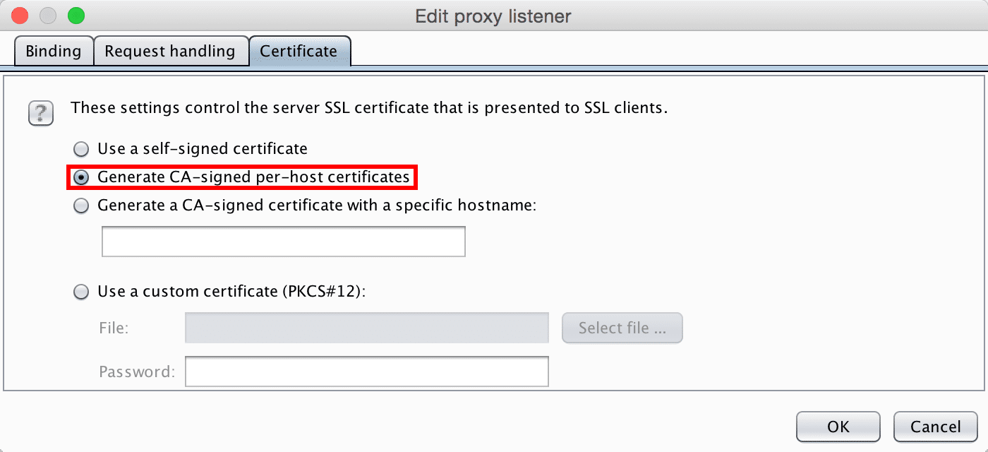 """Proxy"" > ""Options"" > ""Proxy Listeners"" > ""Edit your listener"" > ""Certificate"""