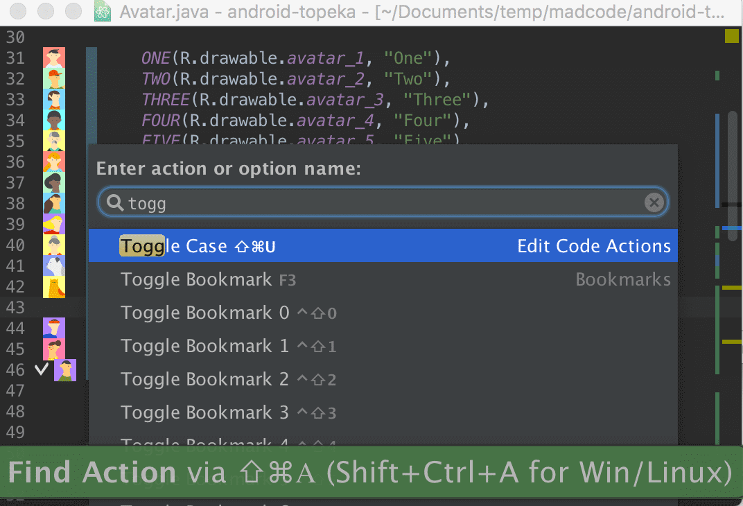 Android Studio Action search dialog