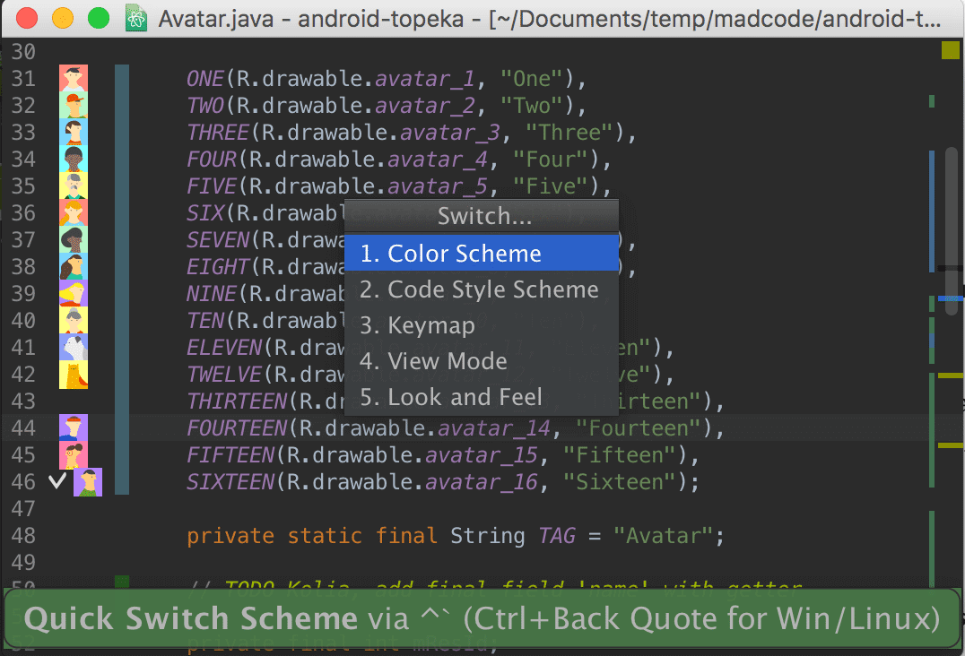 Android Studio Quick switch action list
