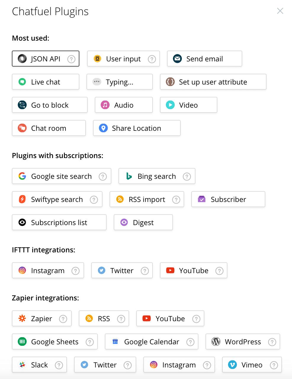 List of Chatfuel Plugins