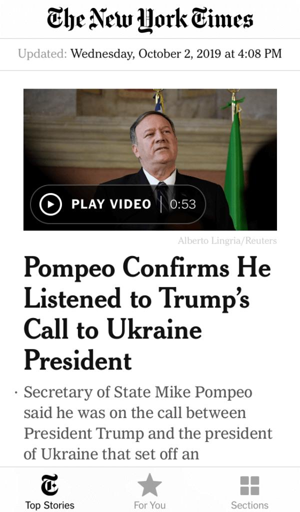 New York Times news app