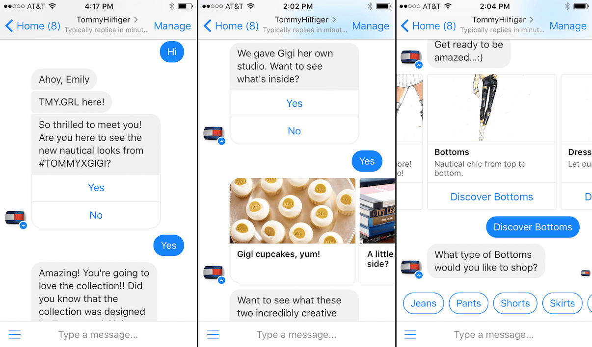 Interacting with Tommy Hilfiger chatbot