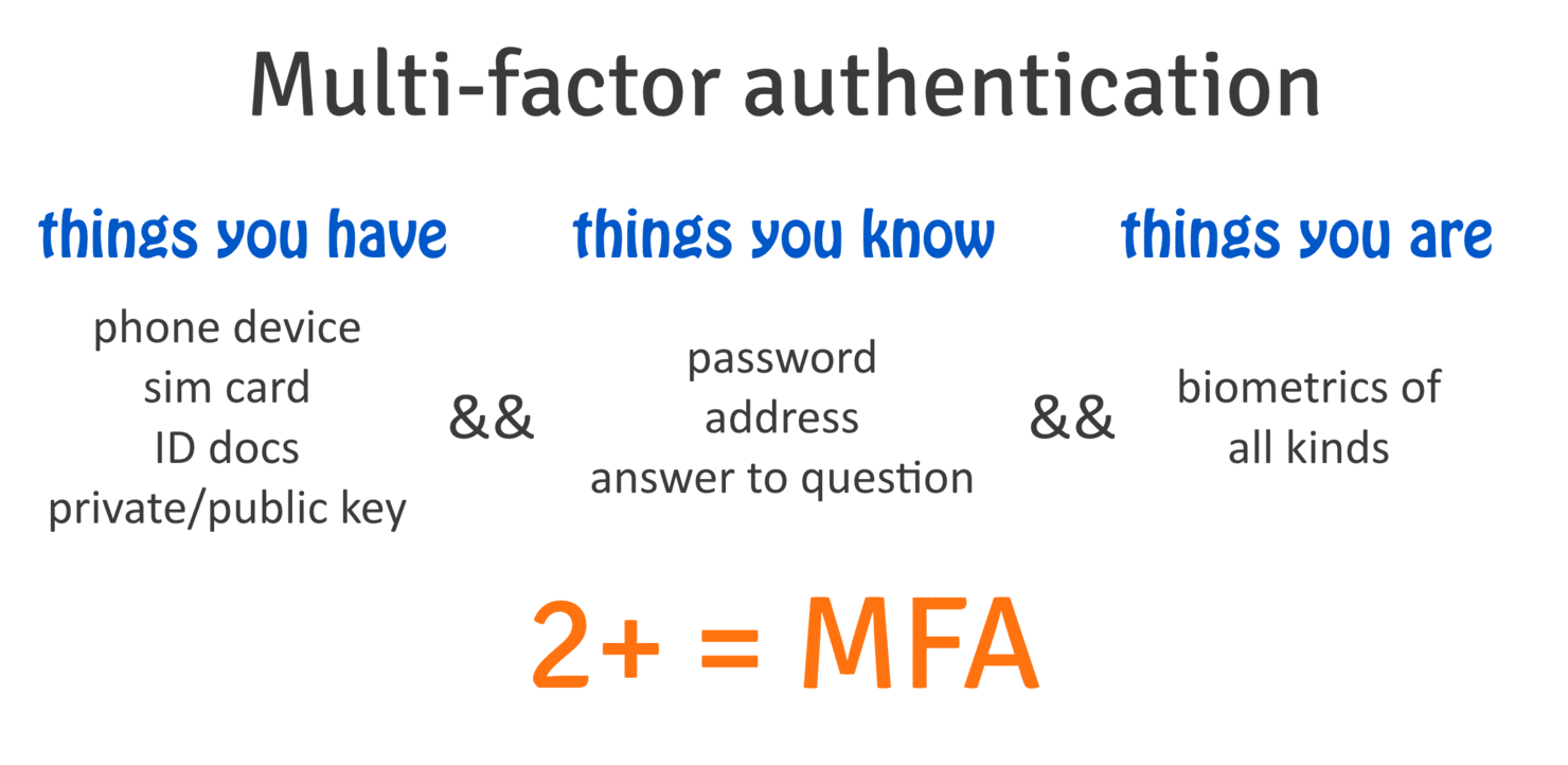 MFA is using credentials from more than two different classes.