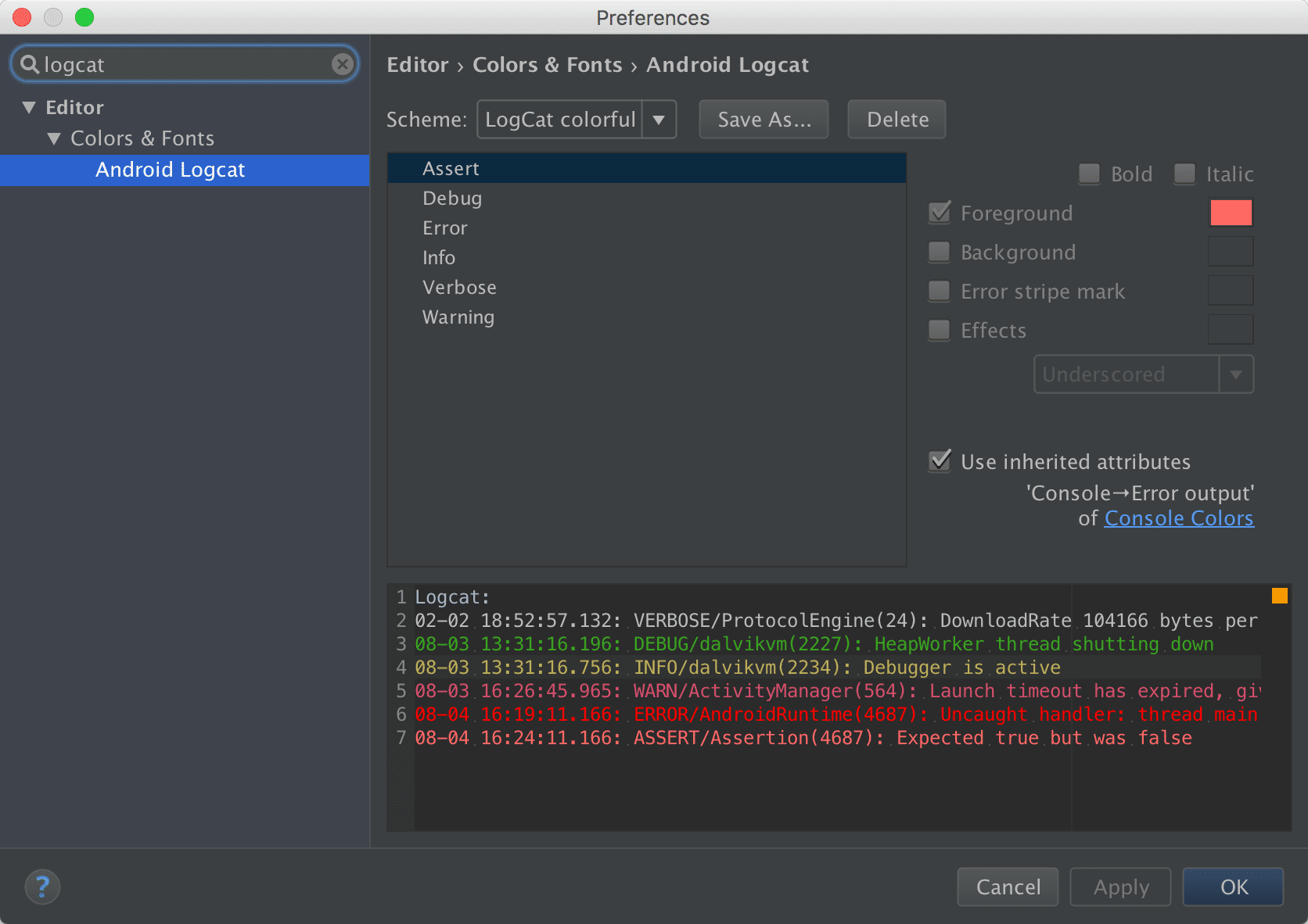 LogCat in Android Studio