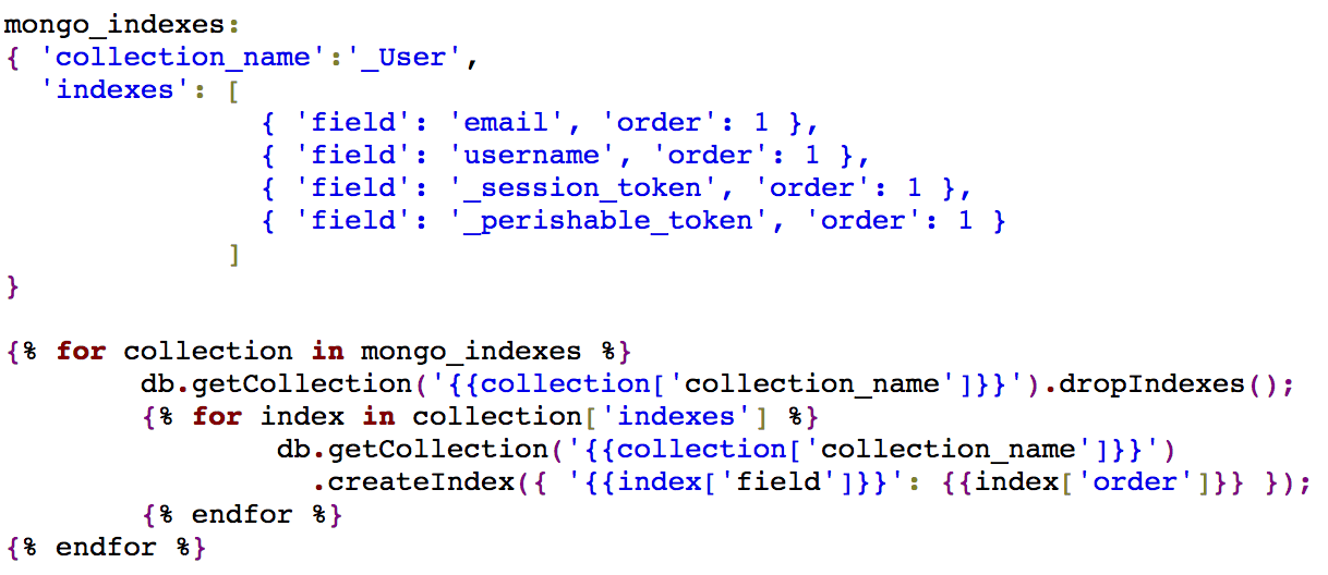 Mongo indexes configuration and script