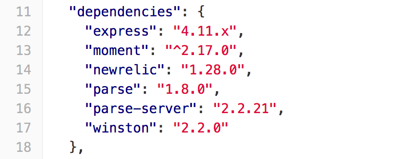 Part of package.json file that describes dependencies
