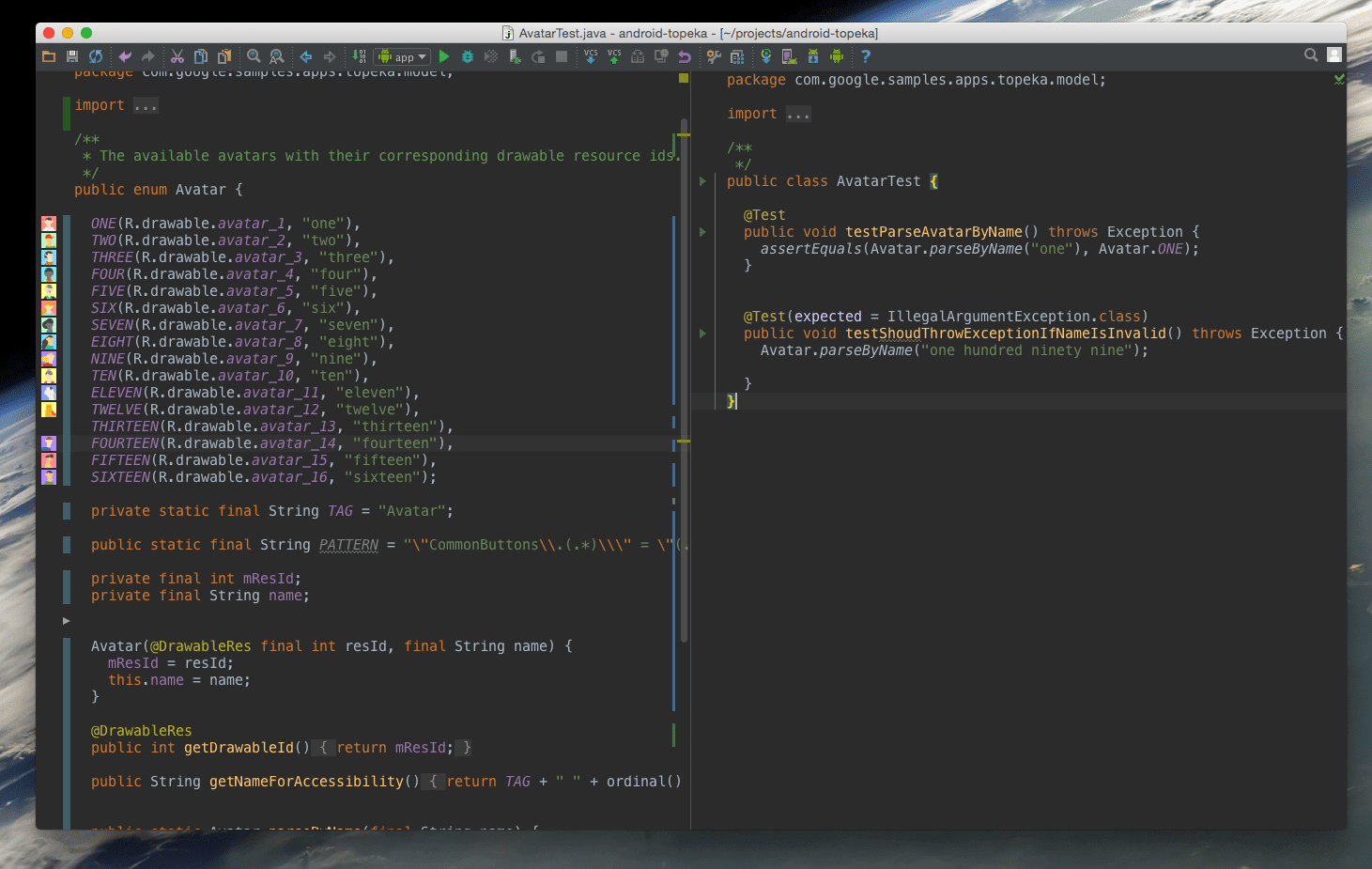 Testing in Split View Android Studio