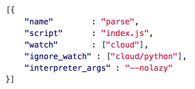 pm2 config allows you to run node.js process that starts Parse Server